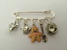 VINTAGE SILVER COLOUR TIME FOR TEA BRITISH BAKE OFF KILT PIN BROOCH in Gift Bag