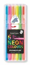 Staedtler Triplus NEON Colours Desktop Box Pack of 6 Felt Fibre Tip Pens 1mm Tip