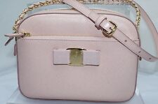 Salvatore Ferragamo Womens Pink Bag Lydia Crossbody Clutch Saffiano Leather NWT