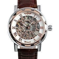Mechanical Brown Leather Strap Stainless Steel Skeleton Hand Wind-Up - Imported