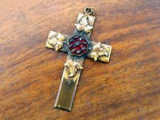 Vintage gold filled LARGE GEORGIAN VICTORIAN BOHEMIAN GARNET CROSS PENDANT charm