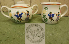 Vintage SUGAR BOWL & CREAMER Set S.B. ALPINE IRONSTONE AIR 1 Pattern Folk Swiss