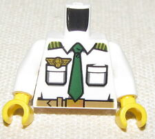 LEGO NEW MINIFIGURE TOSO POLICE WITH GREEN TIE AND BADGE WHITE SHIRT FIG