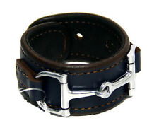 Equestrian Horse Bit Leather Wide Cuff Bracelet Silver Hardware, BLUE
