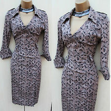 Exquisite Karen Millen Silk Snake Print Hourglass Pencil Shirt Dress UK8 no belt