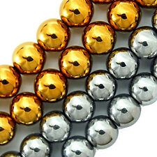 """MAGNETIC HEMATITE BEADS GOLD COLOR PLATED 8MM ROUND 16"""" STRANDS"""