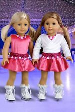 Ice Skating Girl - 2 in 1 Outfit for 18 inch Doll, Skates Sweater Leotard Skirt