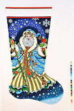 NEEDLEPOINT HANDPAINTED Canvas LEE Christmas STOCKING Santa w/ Blue Robe 13M