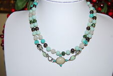 VINTAGE MONET LONG HAND KNOTTED STRAND NECKLACE OF ACRYLIC GREEN AND WOOD BEADS