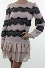 TOPSHOP nude pink black eyelash lace trim ruffle mini dress size 10 eu 38
