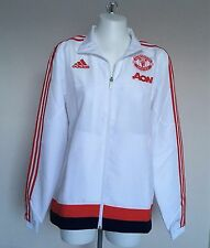 MANCHESTER UNITED WHITE  PRESENTATION JACKET  BY ADIDAS SIZE ADULTS MEDIUM BNWT