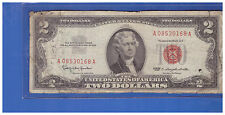 1963 $2 DOLLAR BILL OLD US NOTE LEGAL TENDER PAPER MONEY CURRENCY RED SEAL S108