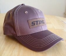 Stihl All Brown Fabric Hat / Cap w Leather Patch Logo Adjustable