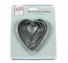 Heart Shape Cookie Cutter 6pcs Stainless Steel Biscuit Pastry Set Pack Egg Mould