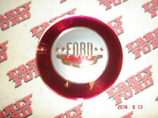 1950 Ford passenger car horn button plastic emblem, Red