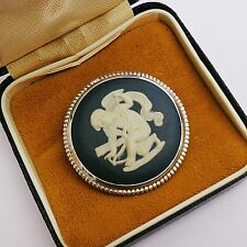 Vintage STERLING SILVER England Wedgwood Jasperware CAMEO Round Brooch with Box