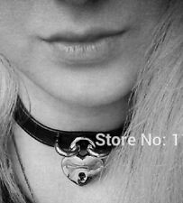 Leather Choker Lock Key Safe Heart Harajuku Jewellery Black Necklace Pendant