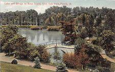 Illinois postcard Peoria Lake and Bridge to Rose Island, Glen Oak Park ca 1909
