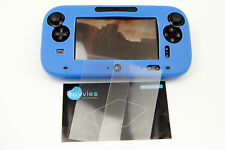 Nintendo Wii U SET 1 x Silikonschutz Hülle Case blau + 2 x Display Folie Gamepad