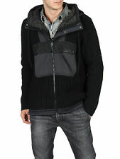 $350 Authentic Rare DIESEL Men's Black Knit Amazo Hoodie Sweaters