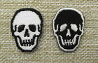 PAIR BLACK & WHITE SKULLS Iron On/Sew On Patch Emo Goth Punk Rockabilly