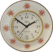 020349.02 Keramik Küchenuhr rund, hellbordo-braune Blumen Braunrand, Funkuhr