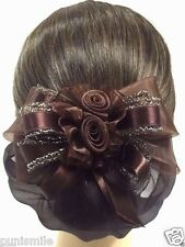 Beautiful Twin Rose Brown Bow Ribbon Hair Clip Snood Net Bun Cover Ballet Dance