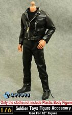"1/6 ZY Toys 12"" Figure Clothes Male Black Leather Jacket Sets F T800 Arnold Body"