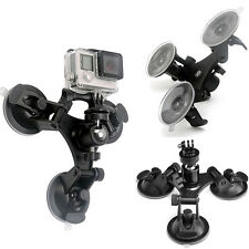 Low Angle Triple Suction Cup Mount Holder + Ball head for GoPro 2 3+ 4 5 Camera