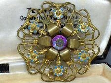 Vintage Czech Aurora Borealis AB Crystal Glass Filigree Brooch
