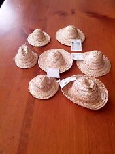 VINTAGE MINIATURE STRAW HATS DOLL MAKING CRAFTS LOT OF 7