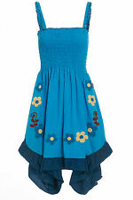 Women's blue bohemian ethnic summer embroidered sundress size 6 8 10 12
