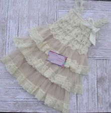 Champagne Lace Dress, Wedding - Rustic - Country Flower Girls 4T 5T 4 5 Toddler