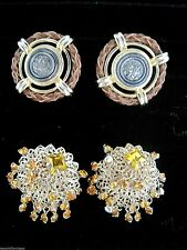 Vintage Round Retro Gold Tone Clip Earrings