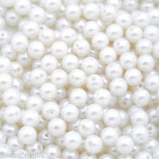"300 PCs Acrylic Pearl Imitation Spacer Beads Ball Round White 8mm( 3/8"") Dia."