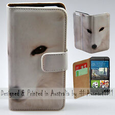 Wallet Phone Case Flip Cover for HTC One M9 - White Snow Fox HD Quality Print