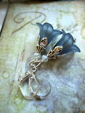 FLOWER Earrings ~NAVY BLUE Dangle Lucite Trumpet LILY matte  leverback Silver