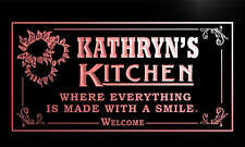 ps082-r Kathryn's Personalized Welcome Kitchen Bar Wine Neon Light Sign