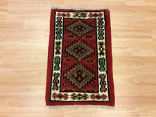 Handmade Red Cream Traditional Persian Tribal Hamadan Wool Rug Mat 40x60cm 50%OF
