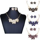 18K Gold Plated 2016 Wedding Party Flower Earring+Necklace Women Jewelry Sets