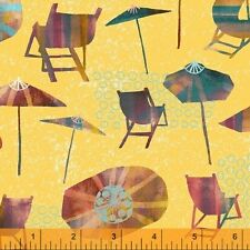 Windham Fabric Sunnyside Beach Chairs  Sara Franklin summer umbrella cotton BTY