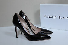 New 8 / 38 Manolo Blahnik Stresty Black Patent Leather d'Orsay Pointed Pump Shoe
