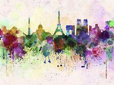 ART PRINT PAINTING DRAWING CITYSCAPE PAINT SPLASH SKYLINE PARIS LFMP0996