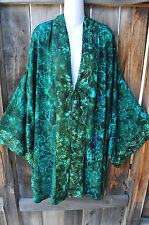"MISSION CANYON ART TO WEAR 785+ KIMONO DUSTER IN NEW OLIVE GARDEN, 74""B, OS+!"