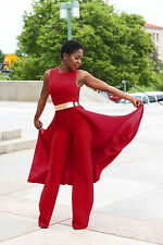 New red cape sleeveless jumpsuit catsuit club party wear size UK 10