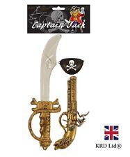 3Pcs Set Pirata Parche Ojo Accesorio Disfraz Elaborado Vestido pistola Cutlass capitán Kit