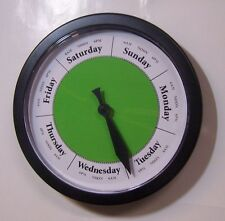 Day of the Week Clock Lime Green Black frame - What Day is it? Retirement Gift