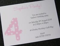 Personalised Birthday Party Invitations/Thank You Cards Girls/Boys/Childrens