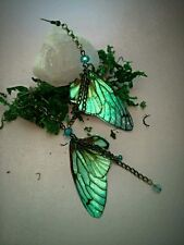 Beautiful Faerie Wing earrings hand crafted iridescent antique bronze