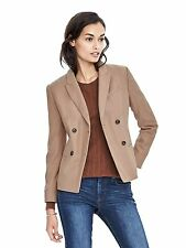 NWT Banana Republic $228 Double-Breasted Camel Flannel Blazer, Size 8